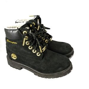 Timberland x Champion suede shearling hiking boots